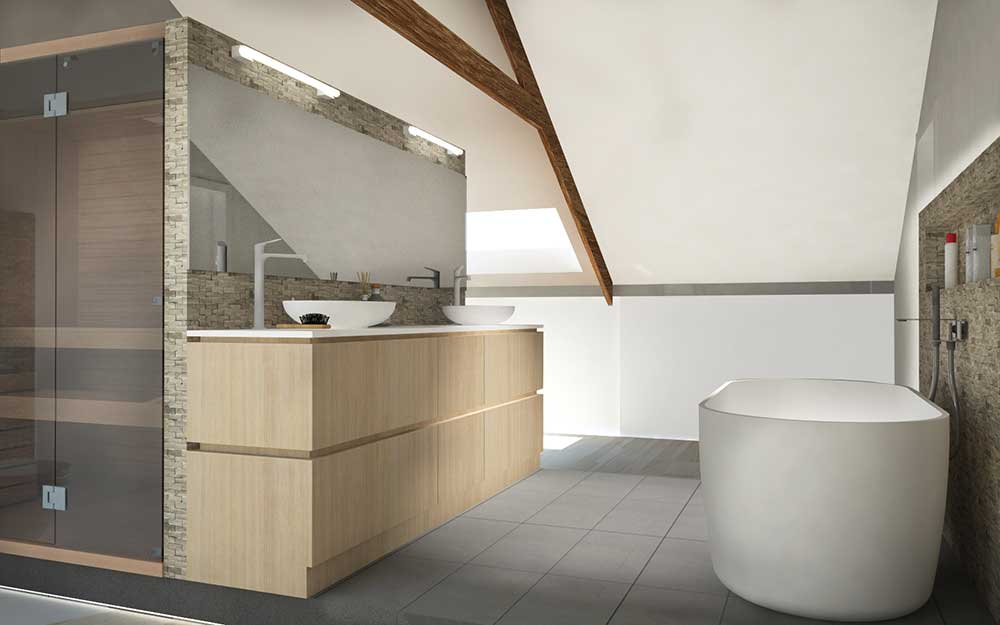 Attic becomes bathroom and wellness